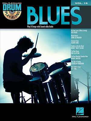 Blues Drum Play-Along Vol 16 Sheet Music Songs Lyrics Hal Leonard Book CD • 13.94£