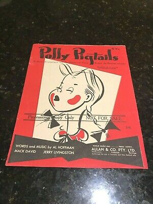 Polly Pigtails-The Magazine for Girls-Original 1947 Sheet Music-Allan & Co-Aust.