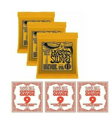 3 X Packs Ernie Ball 2222 Hybrid Slinky With 3 X Extra Top E Strings. VALUE PACK • 19.95£