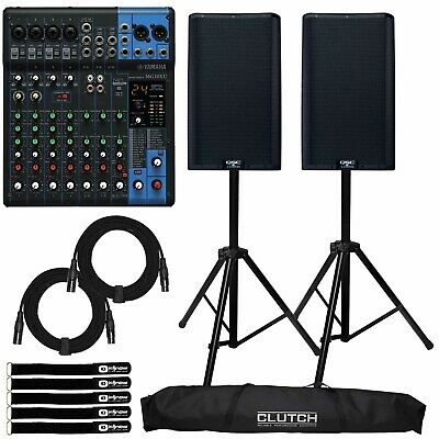 QSC K12.2 12  2-Way 2000W Powered DJ PA Speakers K12 W MG10XU 10 Channel Mixer • 1,225.95£