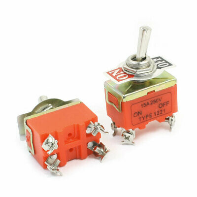 ON-OFF DPST 4 Screw Pin Rocker Type Toggle Switch AC 250V 15A E-TEN1221 2pcs • 4.33£