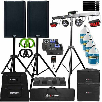 DJ Gig Package QSC K12.2 12  PA Active Speakers W GigBar2 Lights & Fog Machine • 1,983.30£