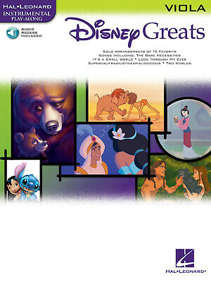 Disney Greats For Viola Solo Sheet Music 15 Songs Play-Along Book & Online Audio • 9.40£