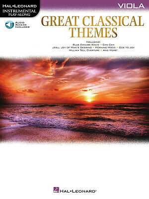 Great Classical Themes For Viola Solo Sheet Music Play-Along Book Online Audio • 9.29£
