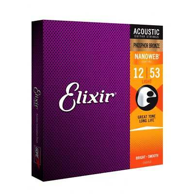 Elixir Nanoweb E16052 Phosphor Bronze Acoustic Guitar Strings 12-53 Light • 16.75£