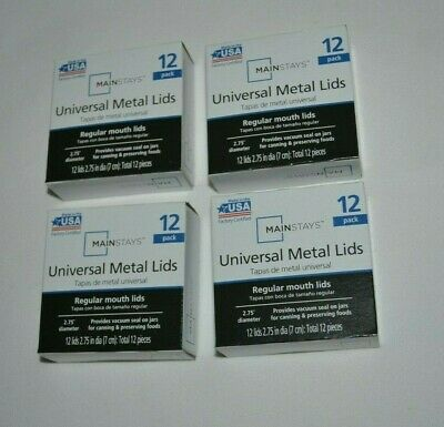 Mainstays Universal Regular Canning Lids ( 4 Boxes - 48 Lids ) Made In The Usa ! • 14.18£