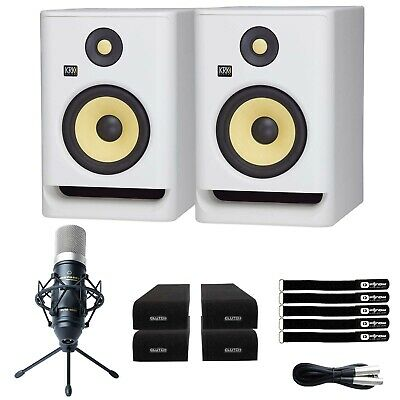 KRK ROKIT RP5 G4 5  Studio Monitor Speakers White Noise Edition W Mic & Pads • 262.89£