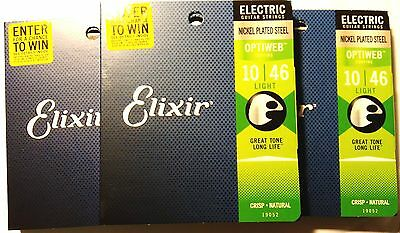 Elixir Guitar Strings 3 Pack Optiweb Electric Light 10-46 Great Tone - Long LIfe • 36.91£