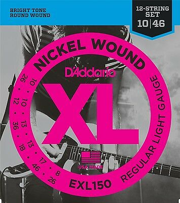 D'ADDARIO EXL150 Nickel Wound 10-46 12-String Electric GUITAR STRINGS 2 PACK • 12.59£