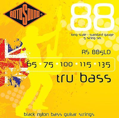 ROTOSOUND RS885LD BLACK NYLON Coated 5 STRING BASS GUITAR STRINGS  • 31.83£