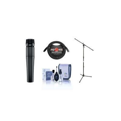 Shure SM57LC Cardioid, Handheld Microphone W/10' XLR M To F Mic Cable/Mic Stand • 103.16£