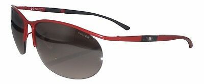 Police Sunglasses Oval Pilot Red Half Rim Gradient Grey Lens Metal Men New  • 64.99£