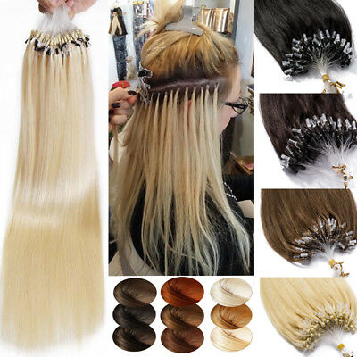 Straight Thick 200S Human Remy Hair Extensions Micro Loop Ring Beads Pre Bonded • 78.20£