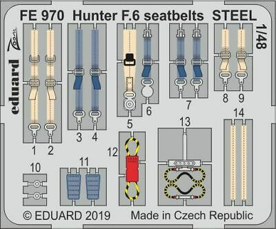Eduard 1/48 Hawker Hunter F.6 Seatbelts STEEL Zoom Set # FE970 • 5.04£