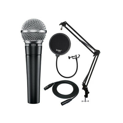 Shure SM58-LC Vocal Microphone With Knox Gear Boom Arm, Pop Filter And XLR Cable • 98.17£