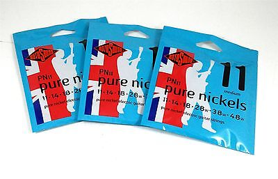 RotoSound Pure Nickel 3-Pack Electric Guitar Strings PN11 Regular 11-48 • 26.23£