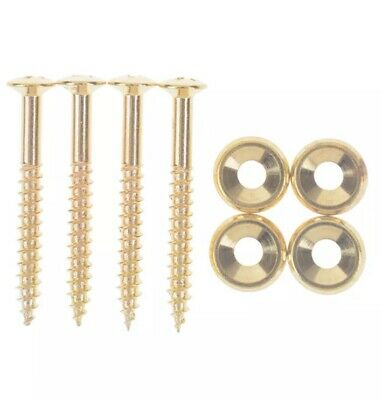 4 x Neck Plate 14mm Mounting Ferrules & Screws For Fender/Squier Strat - Gold