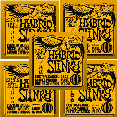 Ernie Ball Guitar Strings 5-Pack Hybrid Slinky Electric 9-46 Nickel Wound • 44.02£