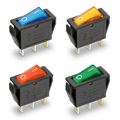 Rocker Switch 250V 15A Illuminated 31x14mm On/Off Switch 230V Mini-Schalter • 1.52£