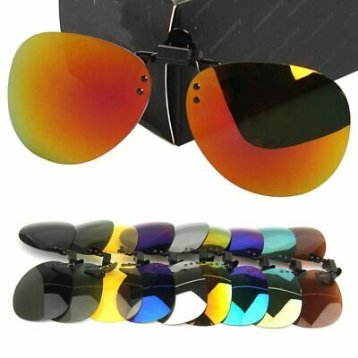 Men Women Polarised Sunglasses Flip-up Clip-on Lens Classic UV400 Sunglasses • 3.80£