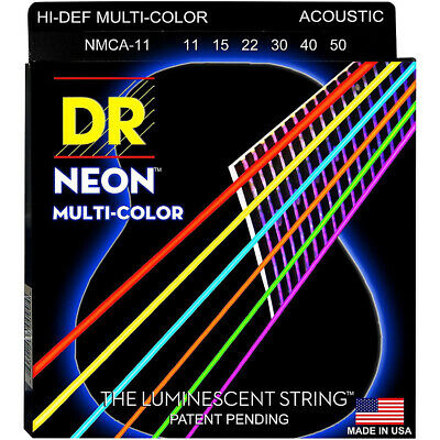 DR Strings Hi-Def NEON Multi-Color Coated Acoustic Strings Light 12-54 • 8.92£