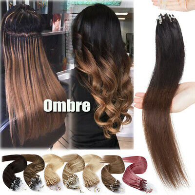 Ombre Thick 1G Microtube Weft Remy Micro Loop Ring Beads Human Hair Extensions U • 81.19£