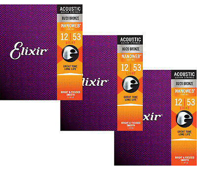 Elixir Strings Nanoweb 80/20 Acoustic Guitar Strings - .012-.053 Light 3p Pack • 28.75£