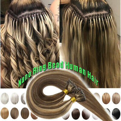 CLEARANCE Russian Nano Ring Human Hair Extensions Real Remy Micro Loop Tip Thick • 109.71£