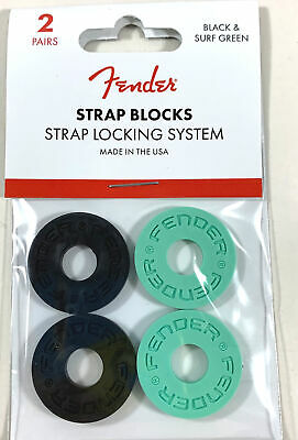 Fender Strap Blocks Strap Lock System Set Of 4 Black & Seafoam • 6.29£