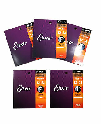 Elixir Guitar Strings 5-Pack Phosphor Bronze Nanoweb Light 12 - 53 • 76.82£