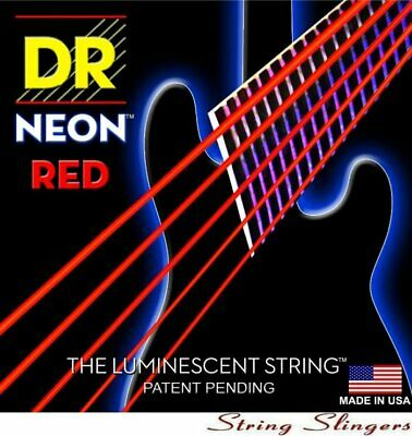DR NRB5-45 Neon Hi-Def Red 5-String Bass strings 45-125