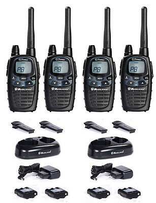 Midland G7 Pro Basic 4 Er Case Set Desk Charger Vox Pmr Radio Radios Set • 224.32£