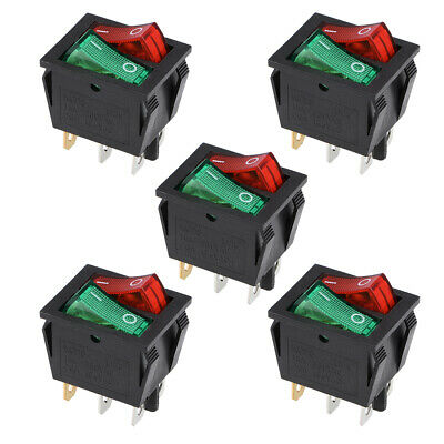Double Position Rocker Switch Red Orange Toggle Switch AC250V/15A 125V/20A 5Pcs • 4.74£