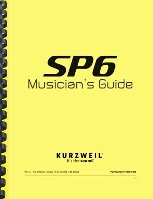 Kurzweil SP6 Synthesizer Musician's Guide  • 15.21£