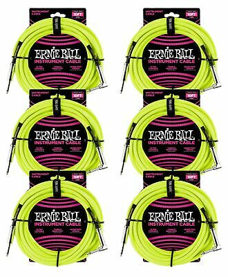 6 PACK Ernie Ball 6080 10' Braided Neon Yellow Straight To RA Instrument Cable • 67.43£