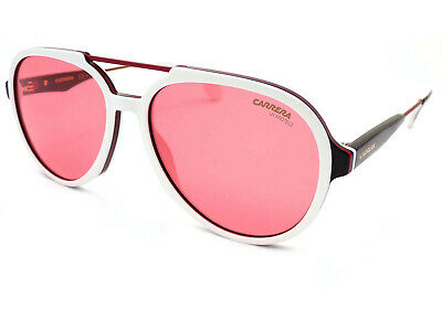 Carrera 1012/S Sunglasses Shiny White Black / Rose Lens 7DM • 61£