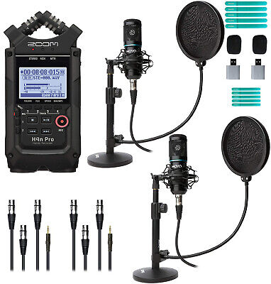 Zoom H4n Pro Black Portable Recorder With Movo Podcast Microphone Bundle For 2 • 237.31£