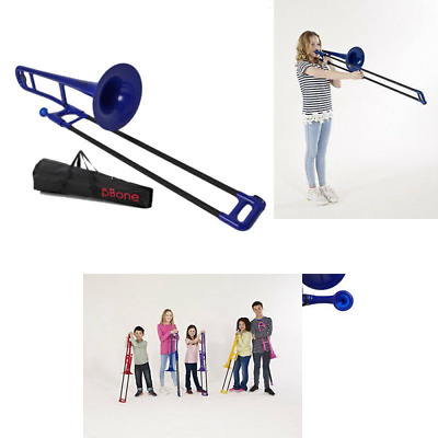 PBone Plastic Sliding Trombone With Mouthpiece And Bag - Blue UK FREE POST NEW • 154.45£
