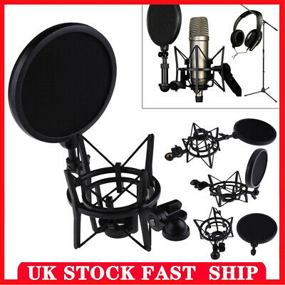 Microphone Suspension Mic Professional Shock Mount W/ Filter For Rode K2 Shield • 10.29£