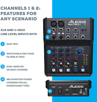 Alesis MultiMix 4 USB FX | 4 Channel Compact Studio Mixer With Built In Effects  • 116.09£