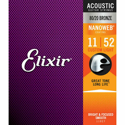 Elixir 11027 Nanoweb Custom Light 11-52 Acoustic Guitar Strings • 9.99£
