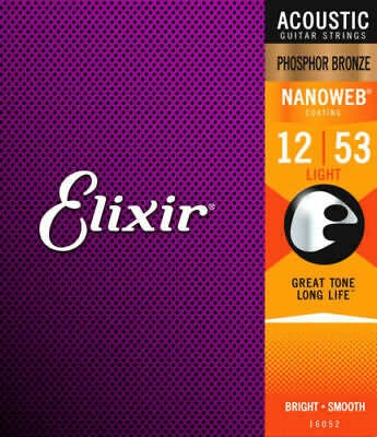 Elixir 16052 Phosphor Bronze Nanoweb Acoustic Guitar Strings, Light .012-.053 • 9.99£