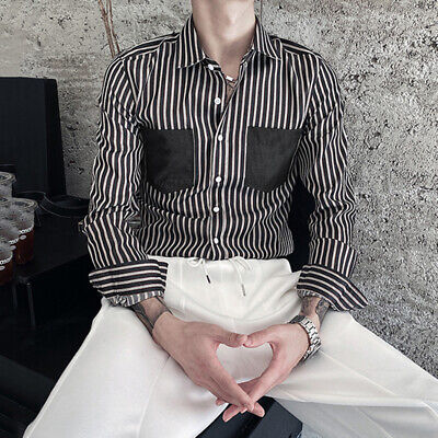 Men's Formal Striped Shirt Cargo Slim Fit T Shirt Party Hippy Blouse Button Up • 10.28£