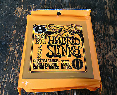 3 Sets Hybrid Ernie Ball Electric Guitar Strings Slinky Nickel Wound  • 19.99£