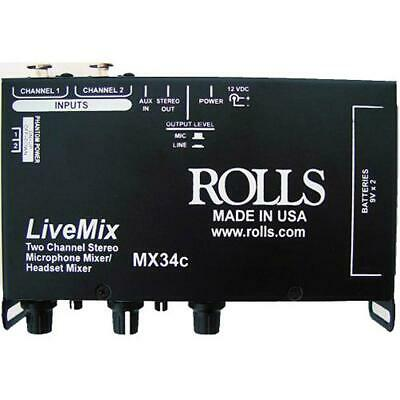 Rolls MX34C LiveMix 2 Channel Microphone Mixer • 68.02£