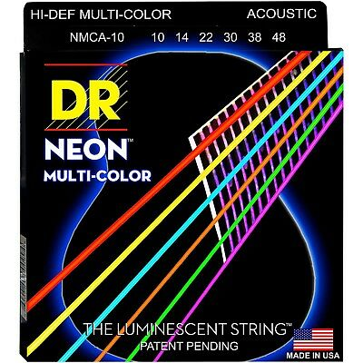 DR Acoustic Guitar Strings K3™ NEON​™ Hi-Def© Multi-color Lite 10-48 NMCA-10 • 8.80£