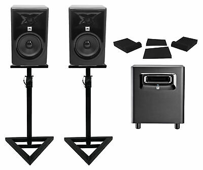(2) JBL 305P MkII 5  Powered Studio Monitors+Stands+Pads+Powered Subwoofer Sub • 480.99£
