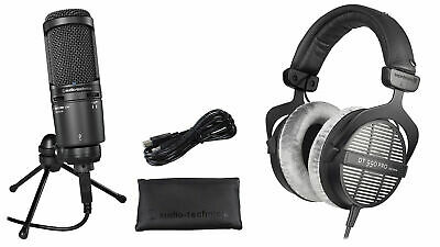 Audio Technica AT2020USB+ Podcasting Microphone+Beyerdynamic DT-990 Headphones • 200.98£