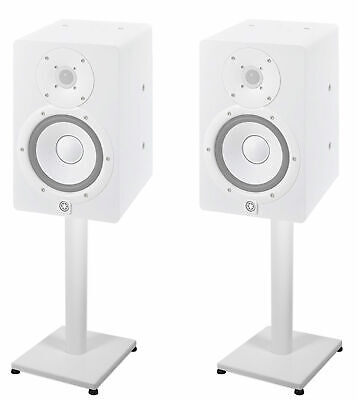 """Pair 21"""" Steel White Stands For Yamaha HS7i Studio Monitors Robust Metal Poles • 46.56£"""