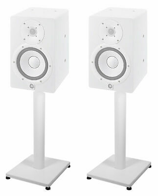 """Pair 21"""" Steel White Stands For Yamaha HS5 Studio Monitors Robust Metal Poles • 57.48£"""